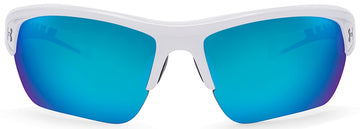 Under Armour Octane Sunglasses with Shiny White Frame and Blue Multiflection Lens