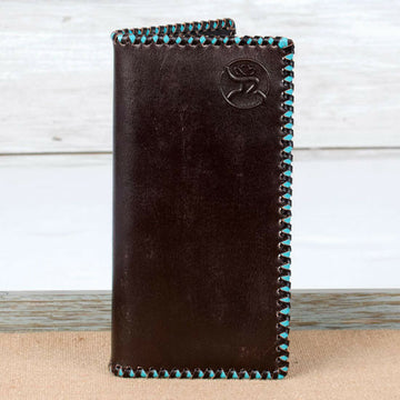 Hooey Brand Roughy Signature Turquoise Stitched Edge Leather Rodeo Wallet - 1831137W5
