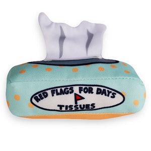 "A tissue box cat toy with ""Red Flags for Days Tissues"" written on the box. An original from the Lucky Bubs pet store."