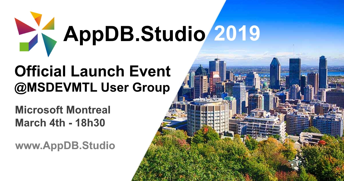 Launching AppDB.Studio 2019 at Microsoft Montreal SQL Users Group