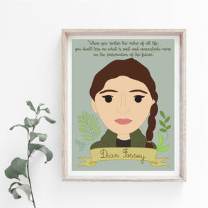 Sheroes Collection: Dian Fossey 8x10 Art Print