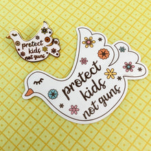 "Load image into Gallery viewer, ""Protect Kids, Not Guns"" Dove Sticker"