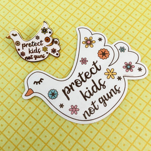 """Protect Kids, Not Guns"" Dove Sticker"