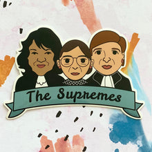 "Load image into Gallery viewer, Women of the Supreme Court ""The Supremes"" Ginsburg, Sotomayor, Kagan Sticker"