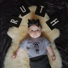"Load image into Gallery viewer, RBG Ruth Bader Ginsburg ""Strong Like RBG"" NEWBORN Baby Onesie"