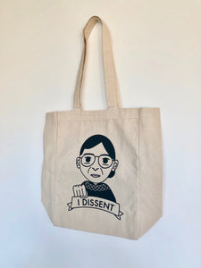 I Dissent RBG Ruth Bader Ginsburg Fist Bump Canvas Tote