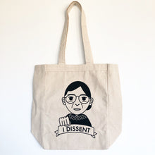 Load image into Gallery viewer, I Dissent RBG Ruth Bader Ginsburg Fist Bump Canvas Tote