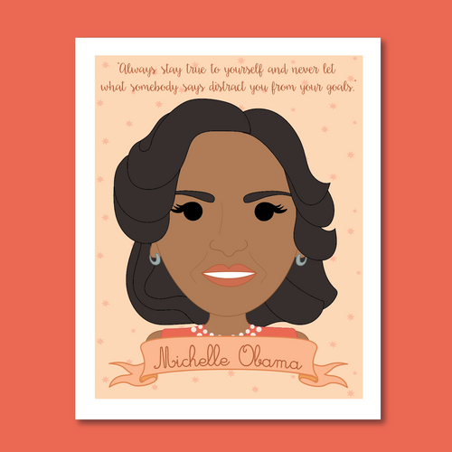 Sheroes Collection: MIchelle Obama 8x10 Art Print