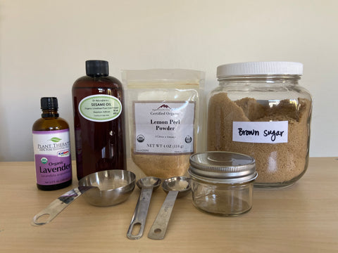 Body scrub ingredients and materials