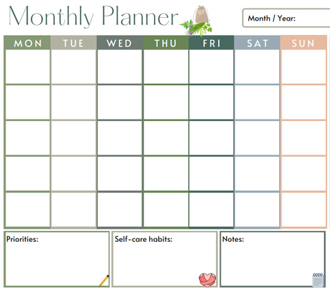Free Flow Botanicals Monthly Planner