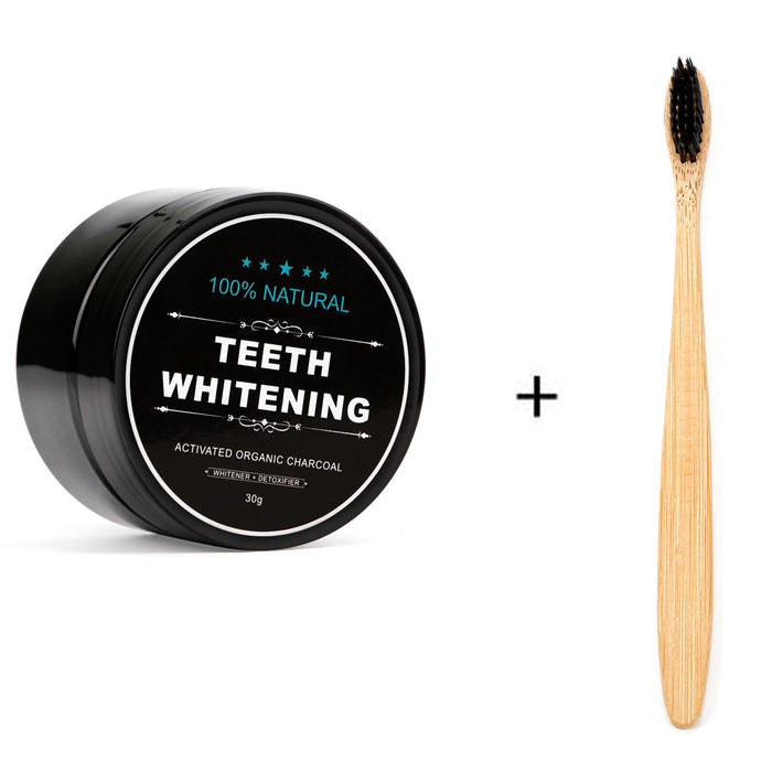 Natural Bamboo Charcoal Teeth Whitening Powder with Toothbrush for Oral Cleaning