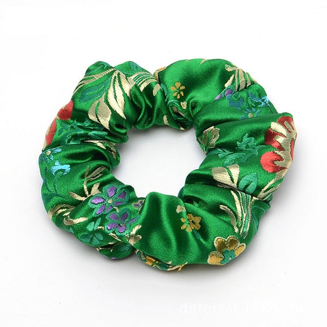 Flower Embroidered Satin Silk Brocade Scrunchies