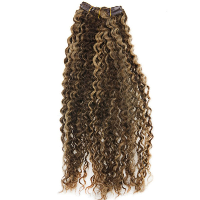 Kinky Curly Clip In Human Hair  Extensions in Brown and Blonde Highlights
