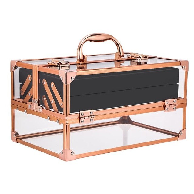 Acrylic Vanity Make Up Case - Lockable Carry Box In Sliver Rose Gold Colour