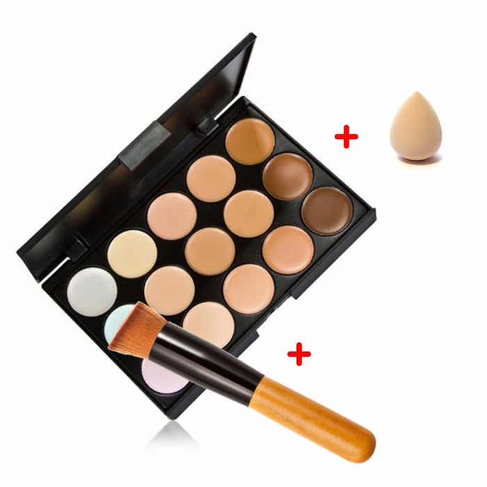 15 Colour Concealer Palette With Sponge Puff And Powder Brush