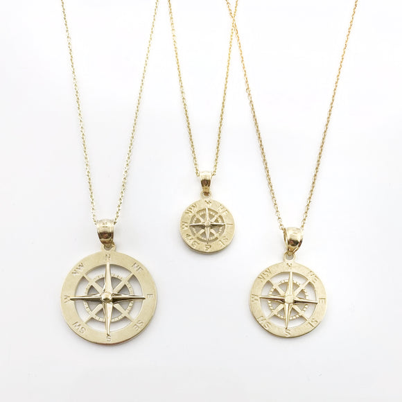 14k Yellow Gold Smooth Compass Rose Necklaces
