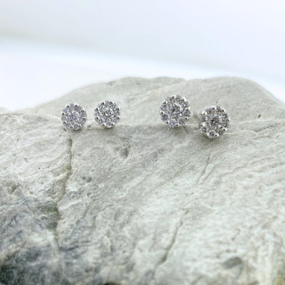 14k White Gold + Diamond Cluster Stud Earrings