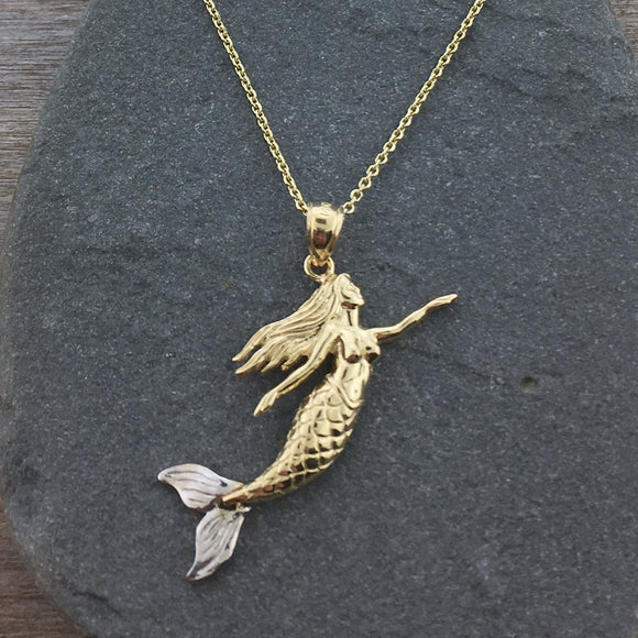 14k Gold Swimming Mermaid Pendant