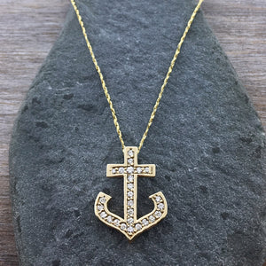 14k + Diamond Anchor Necklace