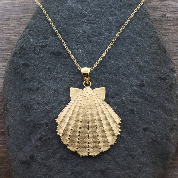 14k Large Scallop Shell Pendant
