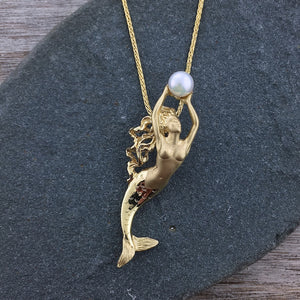 14k Gold Mermaid with Pearl