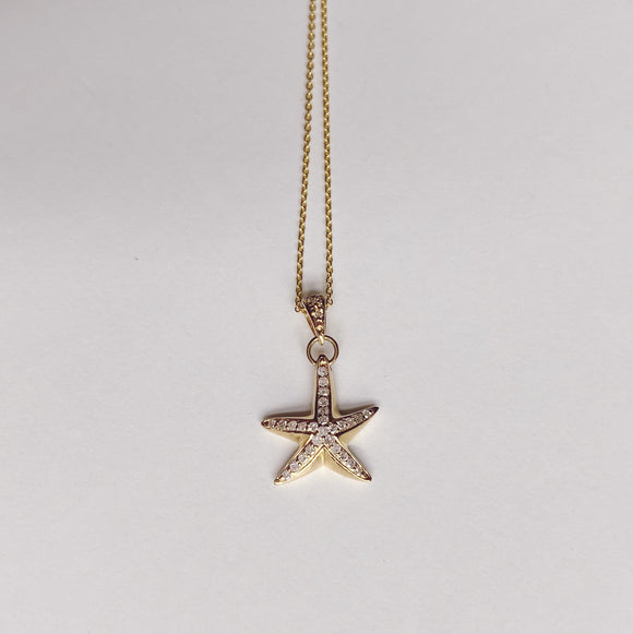 14k + Diamond Starfish Necklace