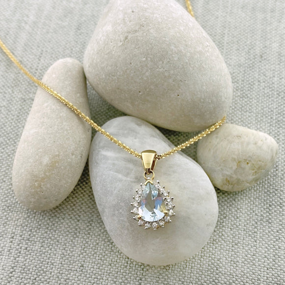 14k Gold Diamond + Aquamarine Teardrop Necklace