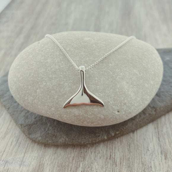 Sterling Silver Small Whale Tail Necklace