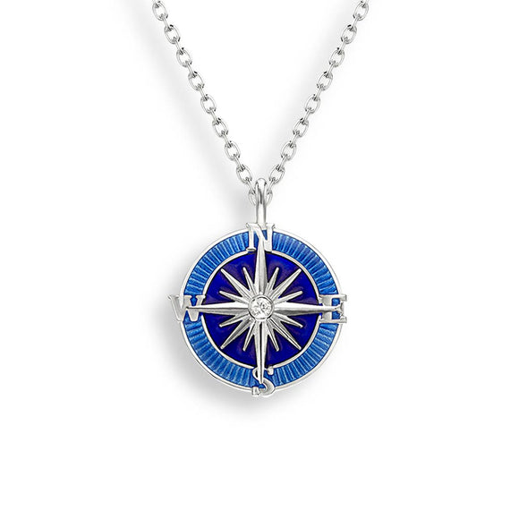 Sterling Silver + Sapphire Blue Vitreous Enamel Compass Rose Necklace