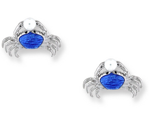 Sterling Silver + Freshwater Pearl Blue Enamel Crab Stud Earrings
