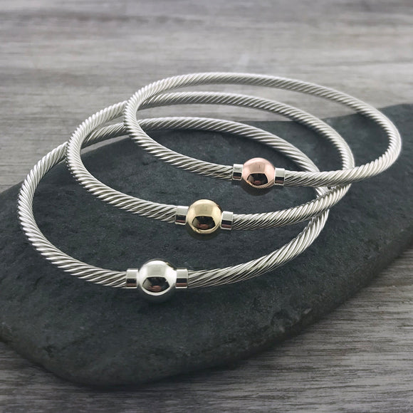 Cape Cod Fine Twist Single Ball Bracelet