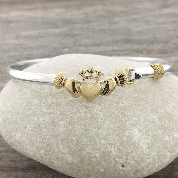 Two Tone Claddagh Hook Bracelet
