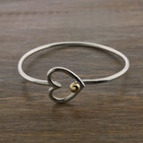 Cape Cod Heart Hook Bracelet Yellow Gold