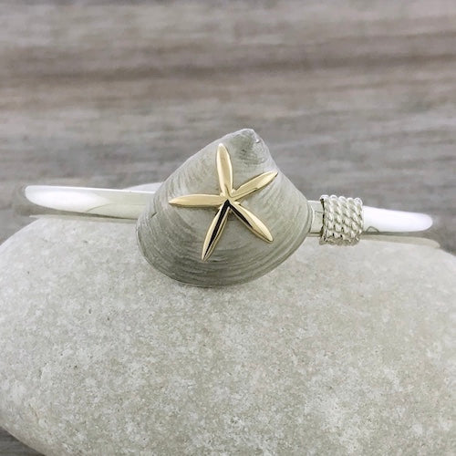 Sterling Silver and 14k Gold Quahog Clam Starfish Hook Bracelet