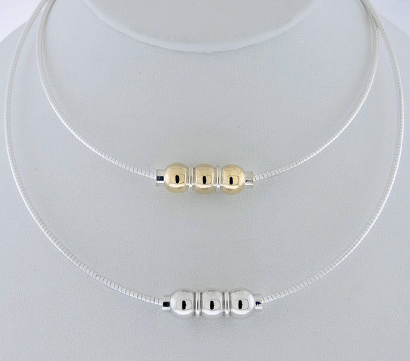 Cape Cod Triple Ball Omega Necklace - Sterling Silver + 14k Gold