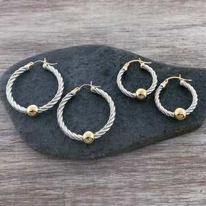 Two Tone Cape Cod Twist Hoops - 14k Gold Ball and Posts + Sterling Silver