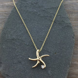 14k Gold + Diamond Dancing Starfish Necklace