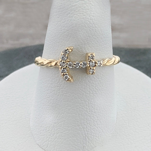 14k Gold + Diamond Anchor Twist Ring