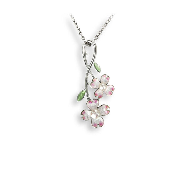 Sterling Silver + Pearl Pink Vitreous Enamel Dogwood Branch Necklace