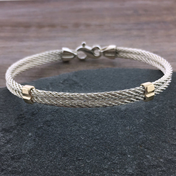 Two Tone Double Cable Bracelet