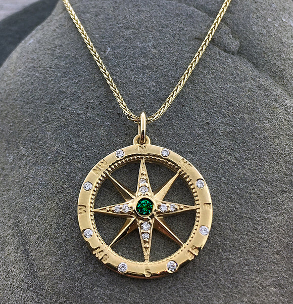 Emerald + Diamond Compass Pendant