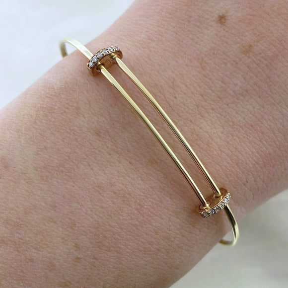 14k Gold + Diamond Expandable Bangle Bracelet