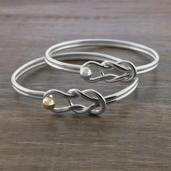 Gold and Silver Fisherman's Knot Bracelets
