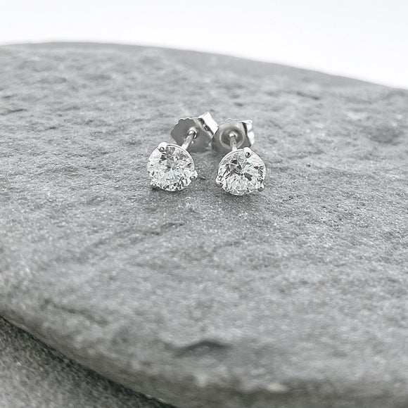 14k White Gold + Diamond Martini Prong Stud Earrings