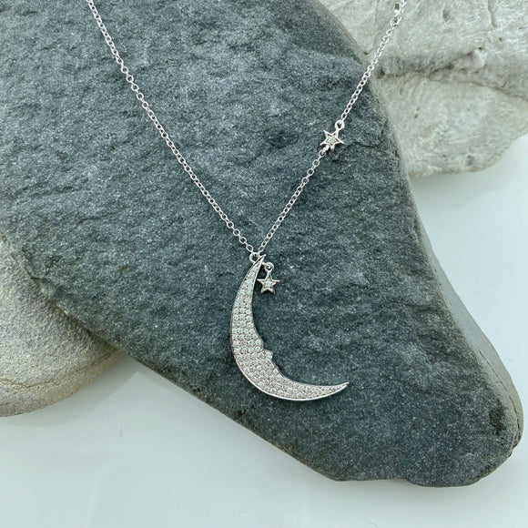 Crescent Moon & Stars Diamond Necklace