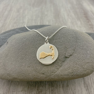 14k Gold + Sterling Silver Cape Cod Map Disc Necklace