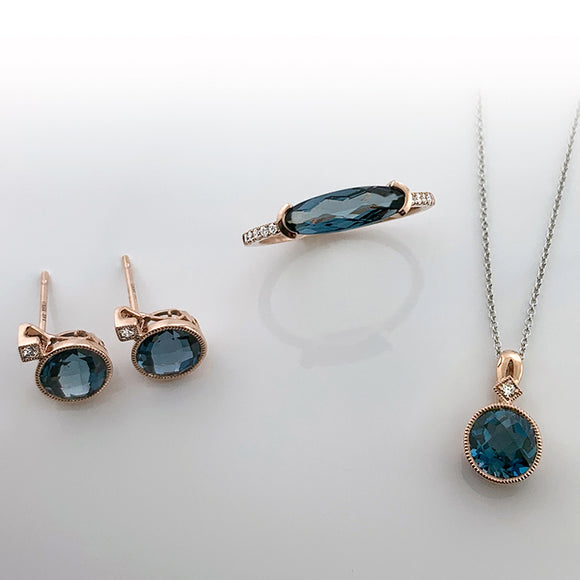 Rose Gold + London Blue Topaz Necklace; Earrings; Ring
