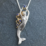 Sterling Silver + 14k Gold Mermaid with Blue Sapphires
