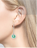Sterling Silver, Diamond + Green Enamel Earrings