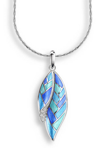 Sterling Silver + Blue Vitreous Enamel Harlequin Necklace